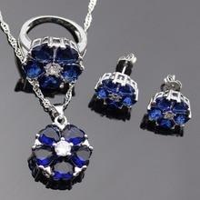 Lan  925 Silver Jewelry Sets Flower Shaped AAA Zircon Blue SapphireRing Necklace Pendant Earring For Wedding