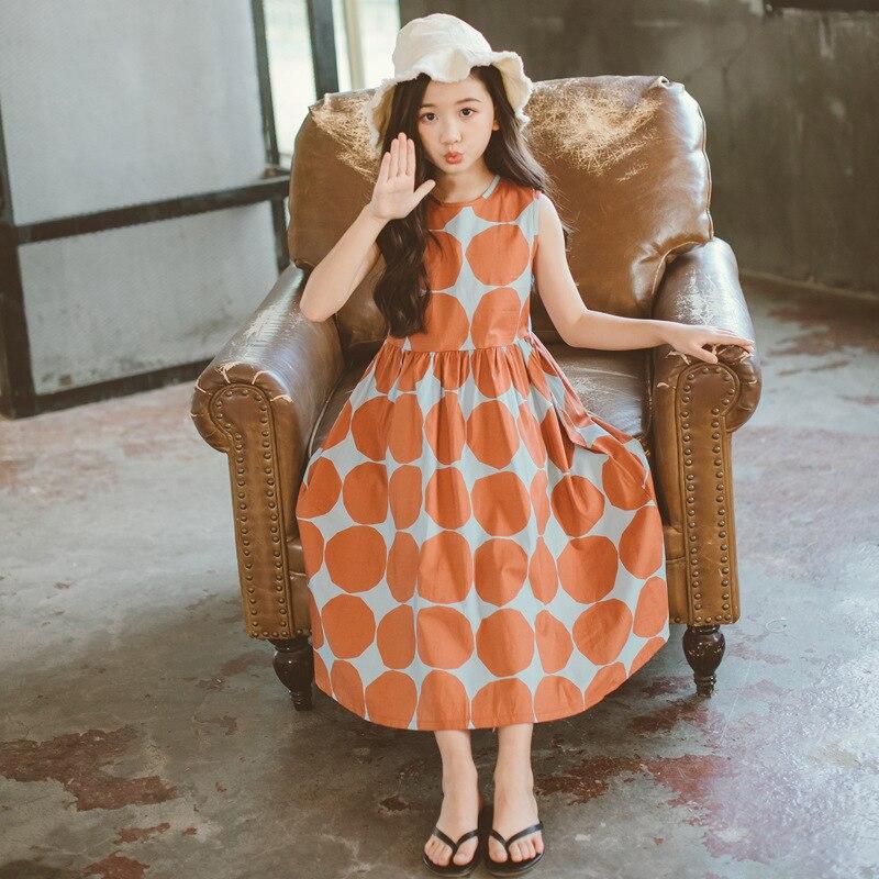 Image 4 - Летнее платье для девочек 2020 г., новое пляжное хлопковое детское длинное платье в горошек платье для мамы и дочки летнее платье для детей ясельного возраста одежда для подростков #5077Платья   -