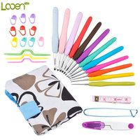 Looen Brand 28Pcs/set Ergonomic Handle Aluminum Crochet Hooks Knit Weave Craft Yarn Needles,Scissor ,stitch markers With Case