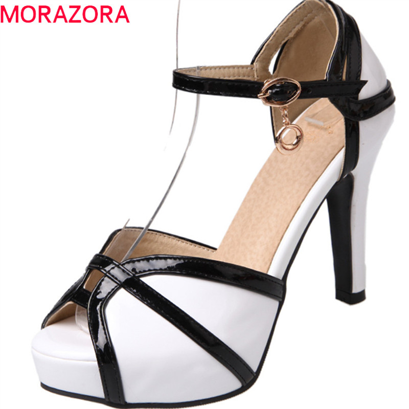 MORAZORA 2018 new women sandals summer fashion splice color party shoes simple buckle sweet peep toe sexy high heels shoes spring summer new fashion sexy women pumps peep toe wedges platforms high heels sandals shoes woman buckle 35 42 loslandifen