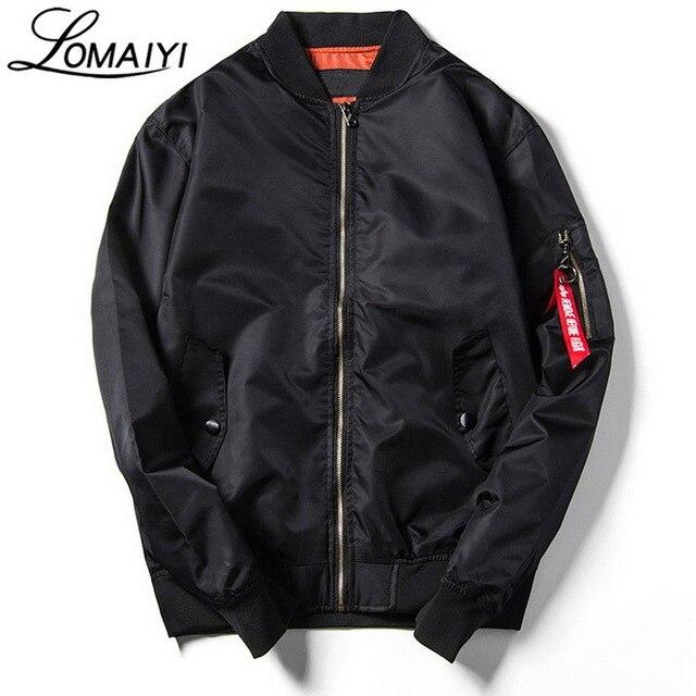 LOMAIYI Male Bomber Jacket Coat Men 2017 Autumn Fashion Air Force Pilot Windbreaker Black Army Military Baseball Jackets,BM074