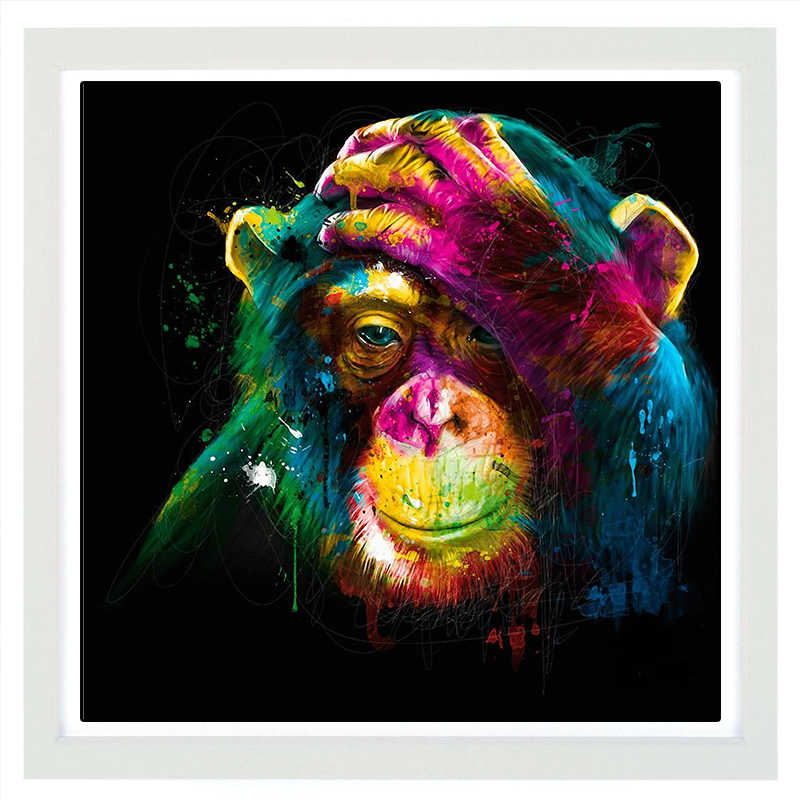 Thinking Monkey Canvas Painting Print Wall Pictures Artwork for Home Living Decor