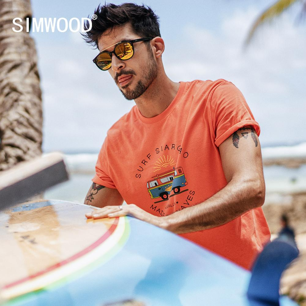SIMWOOD 2019 summer new funny carton bus print   t     shirt   men 100% cotton breathable tshirt thin holiday style top   t  -  shirt   190337