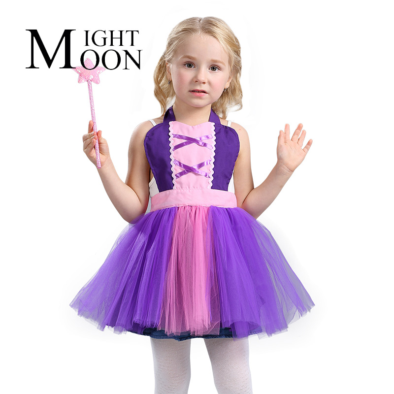 MOONIGHT Rapunzel Cosplay Costume Halloween Princess Tangled Top Carnival Evening Party Girl Dress Apron
