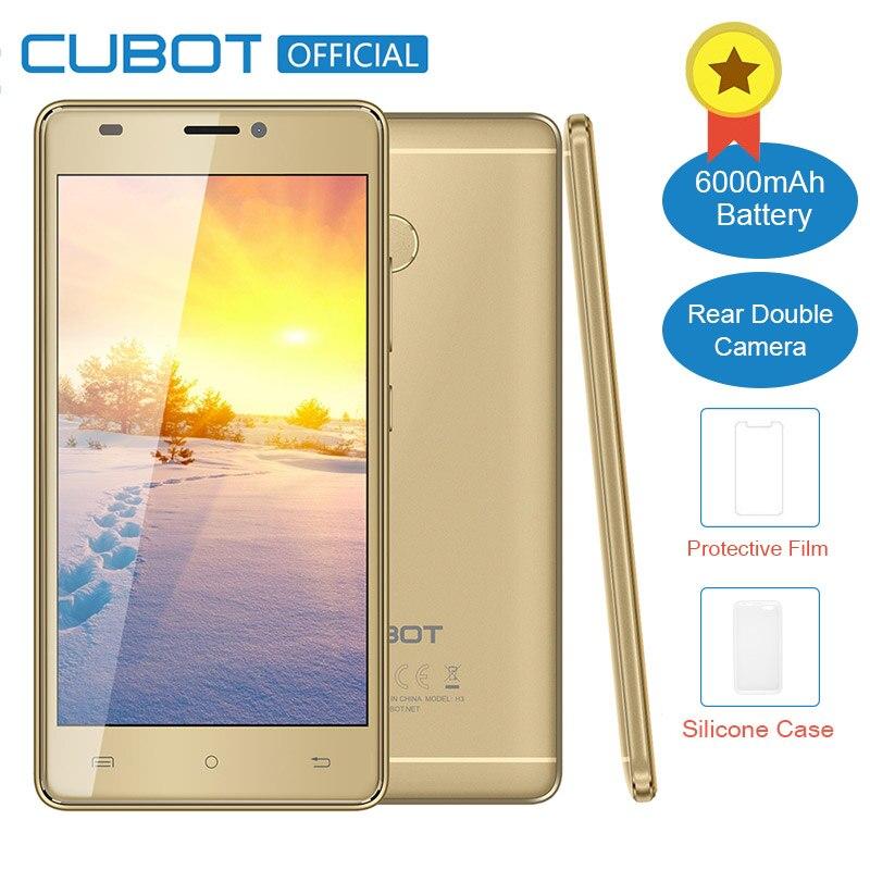 Cubot H3 D'origine MT6737 Quad Core Android 7.0 5.0 Pouce 3G RAM 32G ROM D'empreintes Digitales Celular Double Arrière Caméra 6000 mAh Mobile téléphone