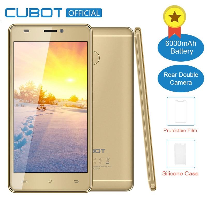 Cubot H3 Original MT6737 Quad Core Android 7 0 5 0 Inch 3G RAM 32G ROM  Fingerprint Celular Dual Rear