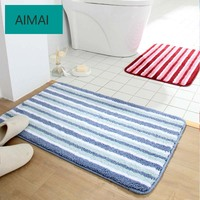 Simple Super Soft Microfiber Carpet Red /Blue/Green Stripe Printing Washable Non slip Striped Rug for Kitchen Bathroom Mat