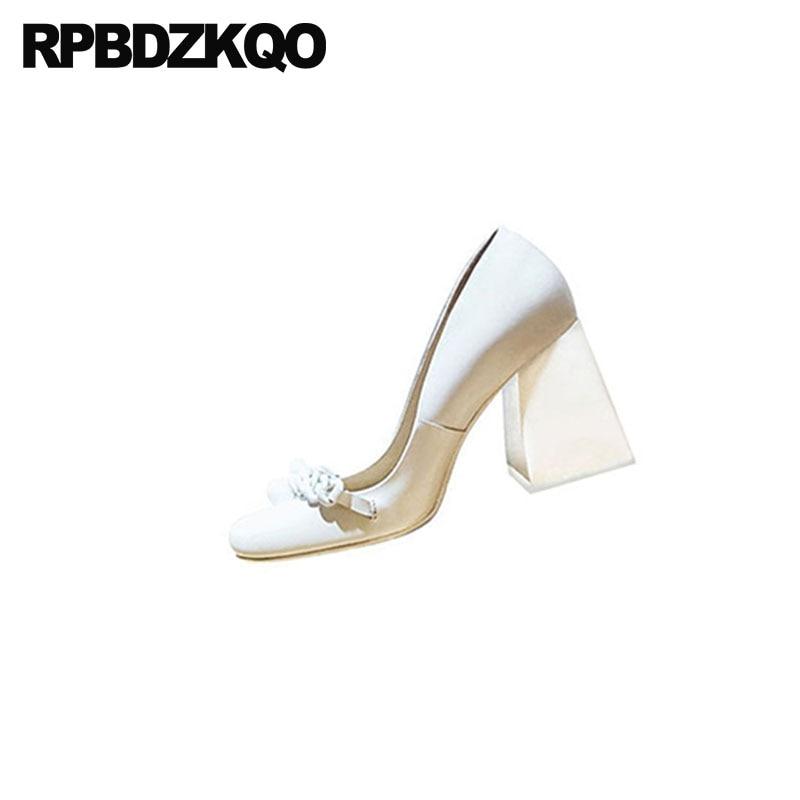 10 42 véritable cuir marque bloc dames pompes taille 33 bout carré 3 pouces haute qualité Sexy blanc talons chaussures grand 2018 personnalisé - 5