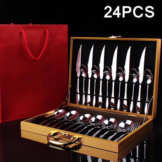 24 шт. роскошный Ensembles de vaisselle Нержавеющая сталь набор столовых приборов Couteaux Fourchettes Écopes кухонный гарнитур Vaisselle комплект