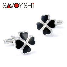 2016 Hot Sale Popular Brand Clover shaped Cufflinks for Mens French Shirt Cuff buttons  High quality Black Enamel Cuff links