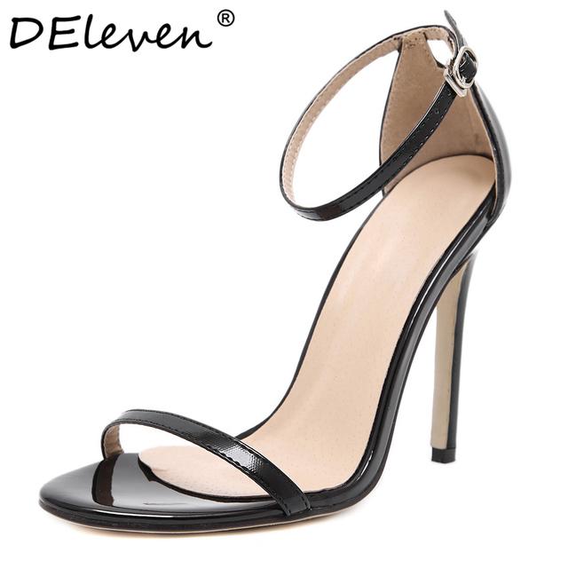Clássicos da moda marca ZA R armadilha de Peep toe Fivela Alta Sandálias de salto Sapatos Mulher Sapatos de Casamento Preto Branco Vermelho Fábrica US10