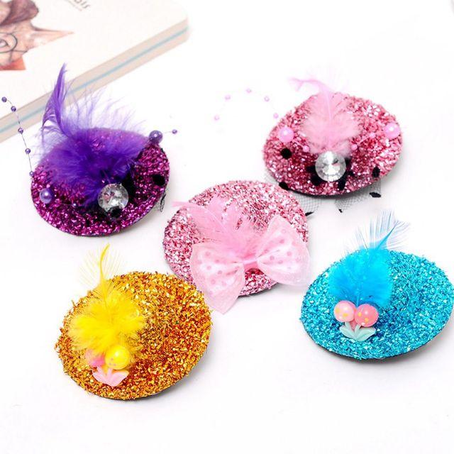 4 unids sombrero precioso en forma de flor adorno Niñas emplumado sombrero  pelo Clips señora hairgrips 3677709faf56