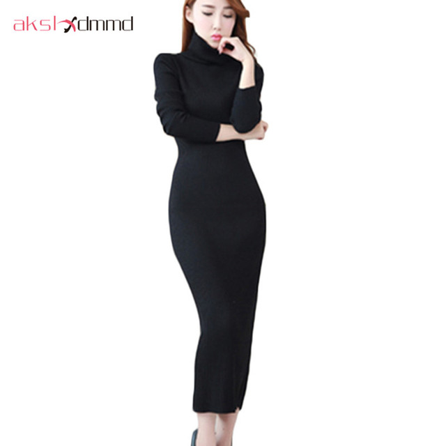 36375946c4f65 Fashion 2017 Women Autumn Winter Sweater Dresses Slim Turtleneck Sexy Bodycon  Solid Color Robe Long Knitted Dress Vestidos LH554