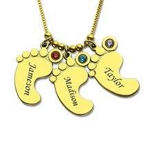 купить Gold Baby Feet Charm Birthstone Mother Necklace Personalized Kids Name Necklace Celebrate Moms Children Birthstone Jewelry по цене 3259.51 рублей
