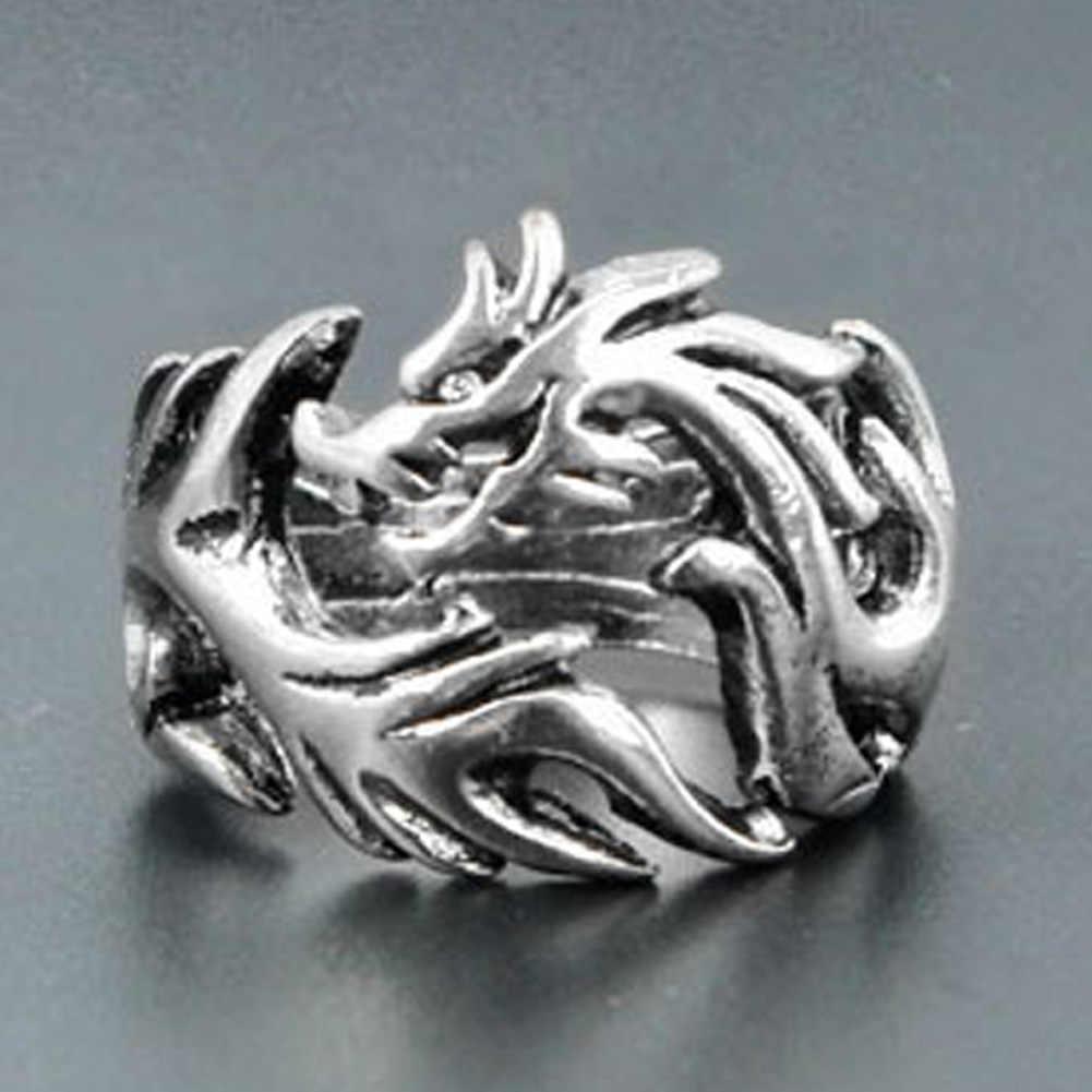 Moda biżuteria ze stali nierdzewnej solidne wewnątrz Dragon Rings mężczyźni pierścień motocyklisty spersonalizowany prezent