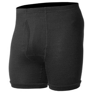 Image 1 - 100% メリノウールメンズの軽量下着男性黒ボクサー Underpant フライクール春暖かい冬のショートパンツで送料無料