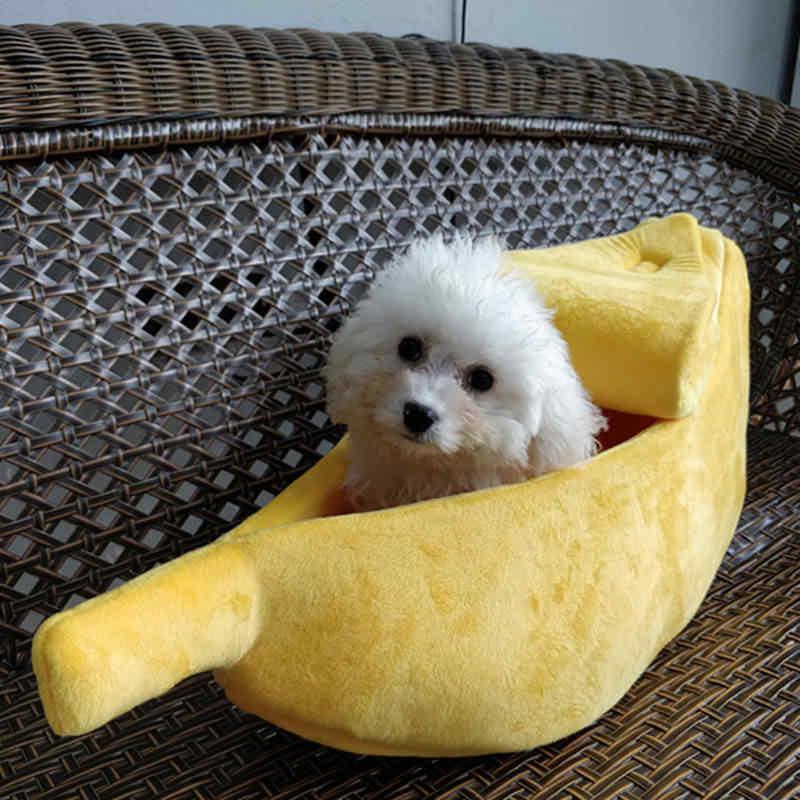 Милая Банановая игрушка в форме собаки кошки щенка пушистая спальная кровать диван Конура палатка теплый мягкий плюш домашняя кровать s m l xl
