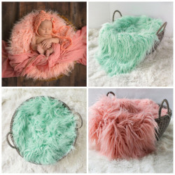 Newborn Faux Fur Wrap Baby Photography Props Blanket Newborn basket filler stuffer Photo Shoot baby fotografia Accessories 50*60