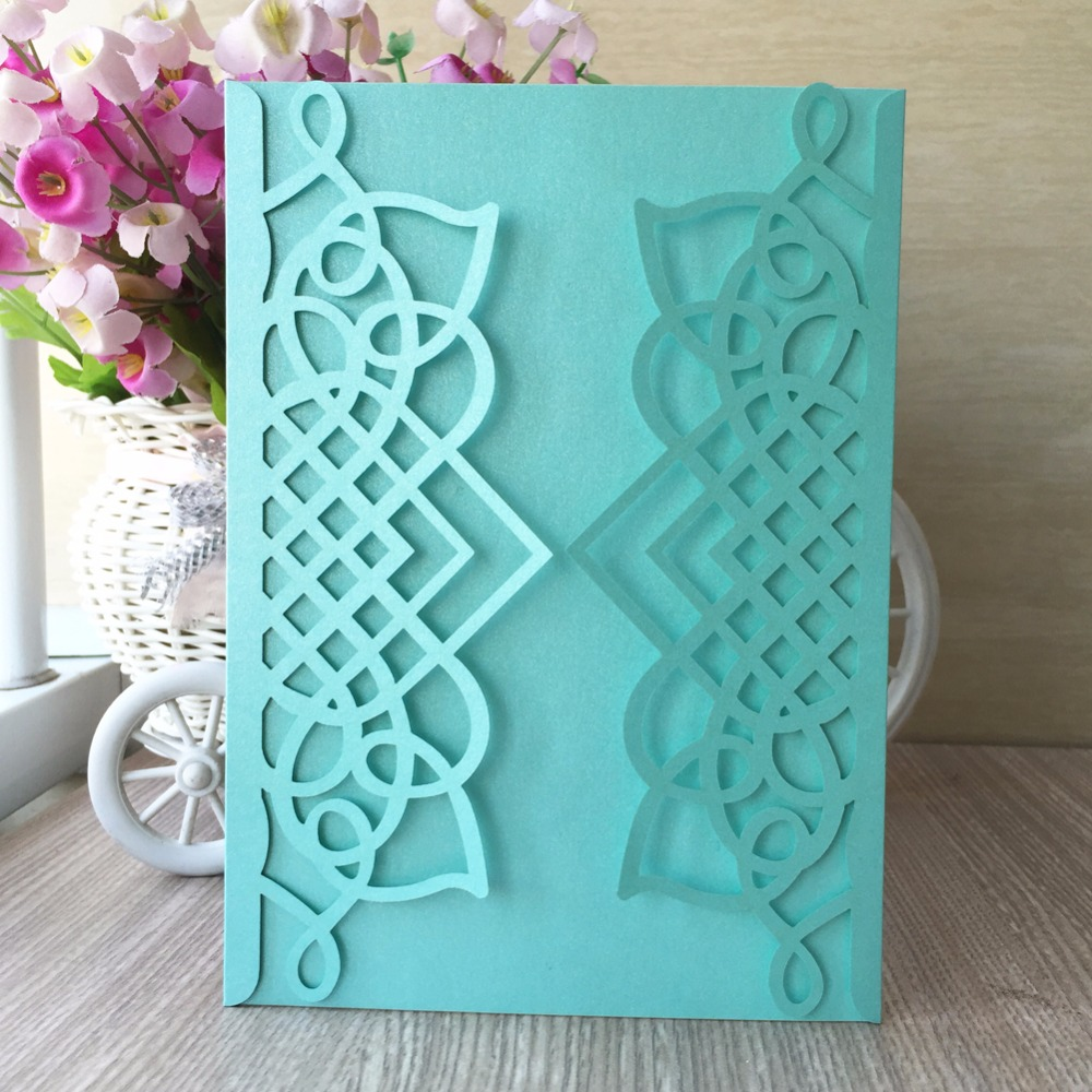 Us 25 02 45 Off 30pcs Chic Tiffany Blue Color Shiny Paper Wedding Invitations Card Name Business Invite Decoration Birthday Party In Cards