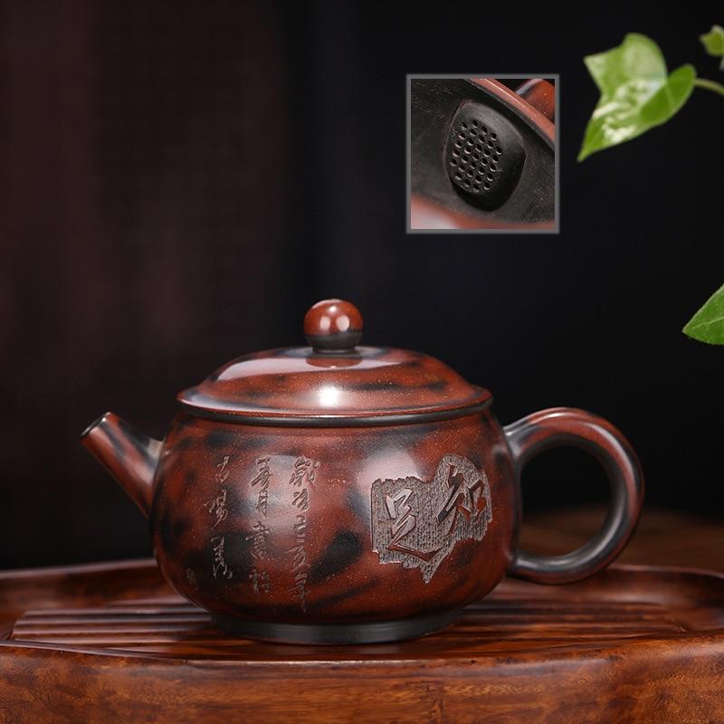 Ev ve Bahçe'ten Çaydanlıklar'de Ham Cevher Qinzhou Çamur Koyu kırmızı Emaye Çömlek Demlik Ünlü Manuel Memnuniyet Hattı Yuvarlak Top Delik Pot Bir Parça bir Ajan title=
