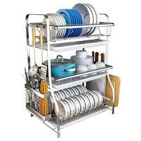 304 Stahl Dish Rack Küche Racks Trockenen Gerichte und Stäbchen Liefert Speicher Box Ablassen Schüssel Regal Schüssel Rack Ablauf-in Regale und Halter aus Heim und Garten bei