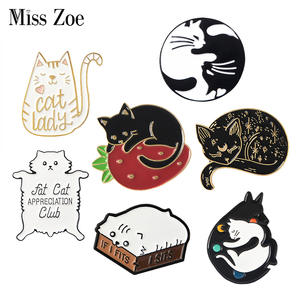 Miss Zoe Enamel Pins Cats Badge Brooches Lapel Pin Jewelry