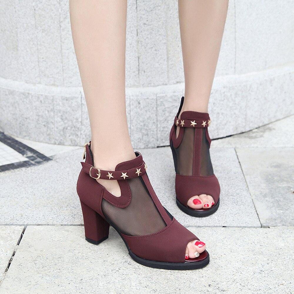 Lady Hohe Schwarzes wine Mund Qualität Frauen Schuhe Toe Mid Heelfish Peep Sommer Dekoration Sandalen Mesh qaf7FR
