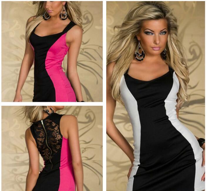 Sexy Casual strapless Summer lace back Sleeveless Dress Mini Dress Vestidos Women Dresses Elegant Slim Package Hip Bodycon Dress