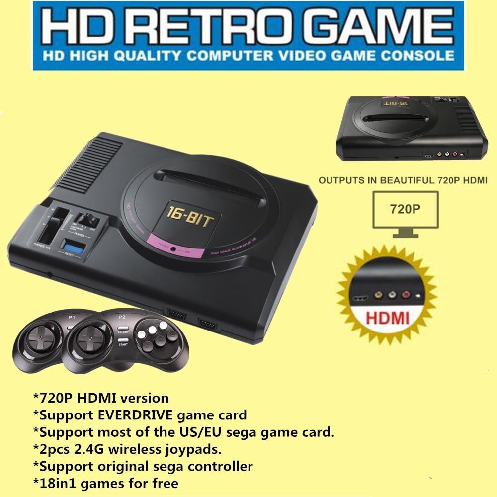 2017 новые HDMI видео игровой консоли Sega Genesis 18in1 Бесплатная игры высокого разрешения HDMI ТВ с 2.4 г беспроводной контроллер