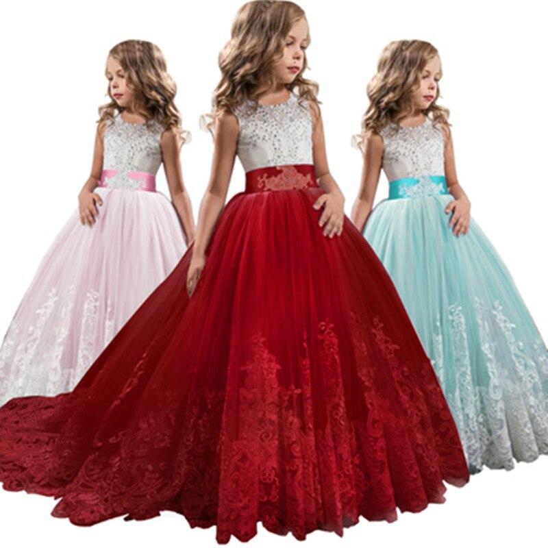 2019 nouvelle robe fille été o-cou chaud forage robe de mariée pour enfants princesse dentelle multi-couche maille Vestidos robes traînantes
