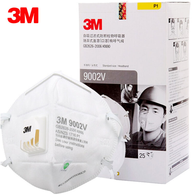 25pcs/lot 3M 9001V 9002V Dust Mask PM 2.5 Anti-fog Masks Anti influenza Breathing valve Adult KN90 Safety Particulate Respirator(China)