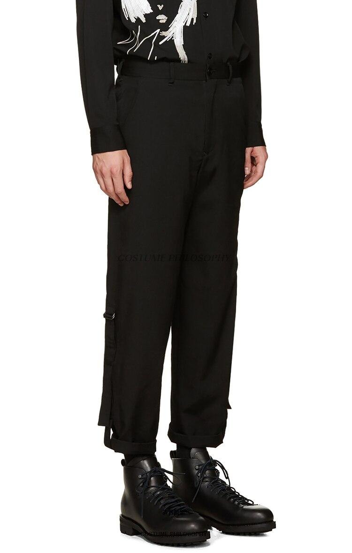 Mince Épissage 27 44 Pantalon Occasionnel Hommes Taille Nouveau Moderne Mode De Vêtements Costumes La Plus Cheveux Styliste 2019 Chanteur Noir OvBrqdwO