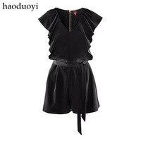 2013 Black Ruffle Dress Pants Short Design Jumpsuit Dress Capris Bodycon Dress