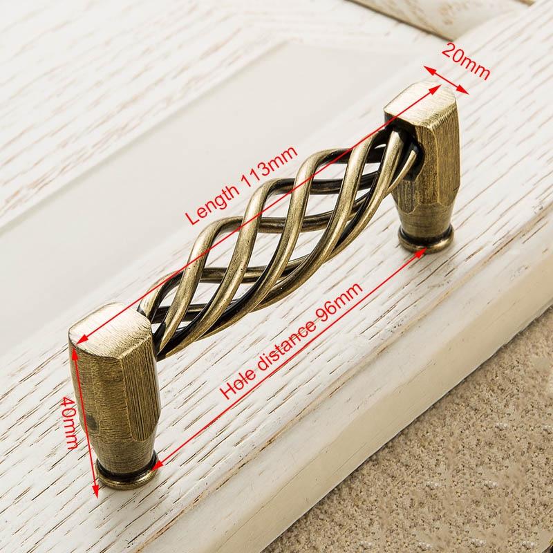KAK винтажные антикварные бронзовые ручки для шкафа, полые ручки для птичьей клетки, ручки для выдвижных ящиков, Съемники дверей шкафа, Мебельная ручка - Цвет: 3004-96 Bronze