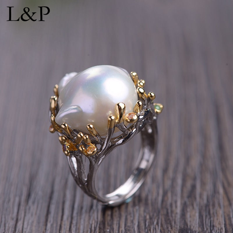Vintage Natural Pearl Ring For Lady 100% Pure 925 Sterling Silver Ring 2019 Elegant Zircon Luxury Adjustable Ring Jewelry GiftVintage Natural Pearl Ring For Lady 100% Pure 925 Sterling Silver Ring 2019 Elegant Zircon Luxury Adjustable Ring Jewelry Gift