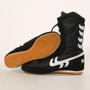 Zapatos de boxeo para hombre, zapatos de lucha, bóxer de piel de vaca con cordones, botas, equipo de entrenamiento de gimnasia, zapatillas de deporte, talla 35-46