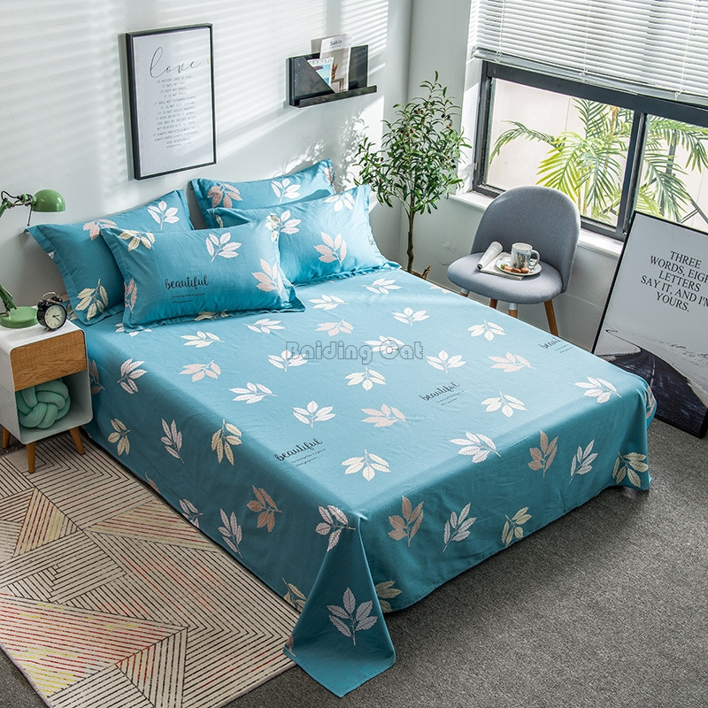 Spring Leaves Printed Bed Sheet Set 100% Cotton Fabric Flat Sheet Twin Full Queen King Mattress Cover Protector for Adult & Kids