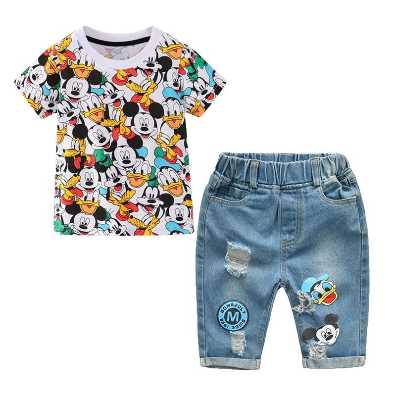 Children Clothing Boys Summer Cartoon Mickey Shorts Denim Pants Sport Suit Baby Kids Short Sleeve T Shirt Jeans Clothes Sets