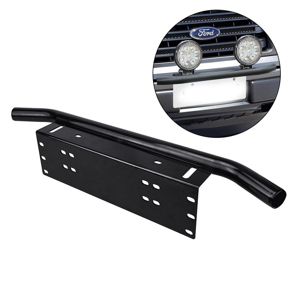Black 23 Inch Universal Bull Bar Front Bumper Fog Working Lights License Plate Mount Braket Holder