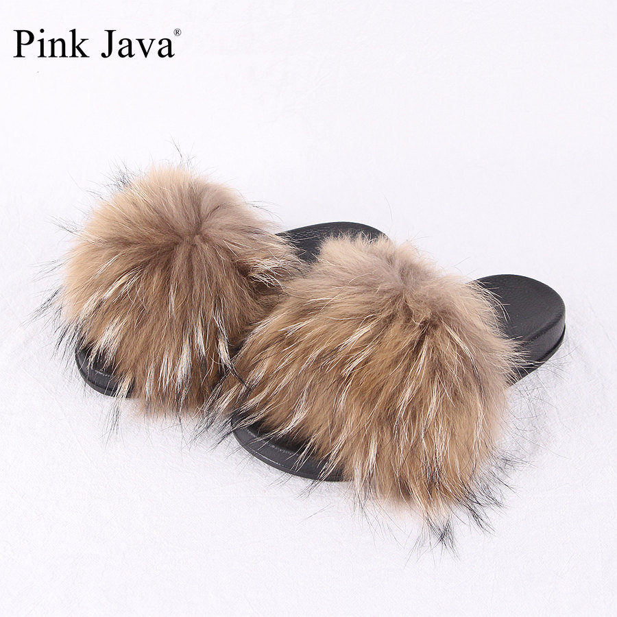 pink java QC1802 2018 NEW summer women shoes real raccoon fur slipper luxury indoor slides flats