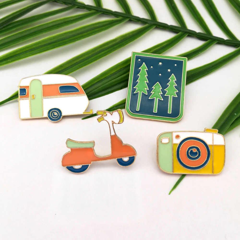 """TAFREE лес, камера, Электромобиль, автомобильный значок, красочные эмалированные нагрудные булавки, модная брошь, ювелирные изделия из сплава, булавки """"сумка"""", LP182"""