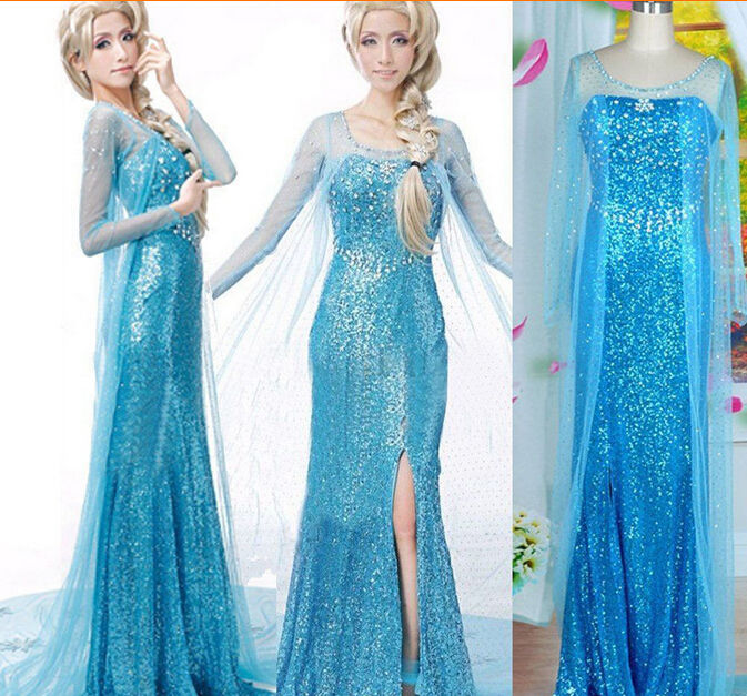 Hot Sales Elsa Queen Adult Women Dress Costume Cosplay Flowery Fancy Party Gown Dresses Vestido Blue Sexy Women Clothing