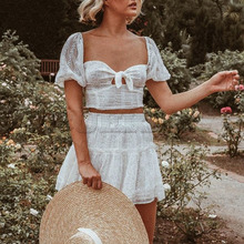 Cuerly 2019 summer white lace crochet dress women boho beach party two pieces L5