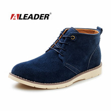 Aleader Men's Suede Boots Shoes New 2015 Spring Casual Leather Boots for Man Ankle Martin Short Boots Bota Masculinas Zapatos