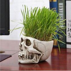 Alta qualidade resina crânio vaso de flores estátuas planta verde vaso de flores decoração de mesa brinquedo para casa festa de halloween decoração dropshipping