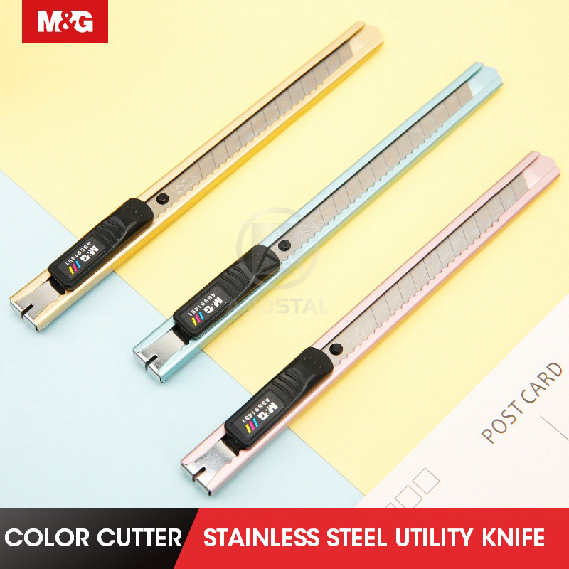 M&G Stainless Steel Paper Cutter Andstal Metal Stationery Knife Office Utility Knife Craft Box Cutter Knife Crafts Blades 9mm