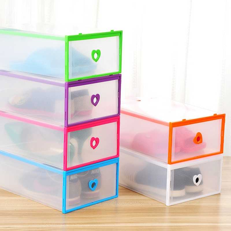 Shoes Chest Of Drawers Stackable Drawer Shoe Storage Box Plastic Transparent Thick Heart-shaped Shoes Organizer Dustproof