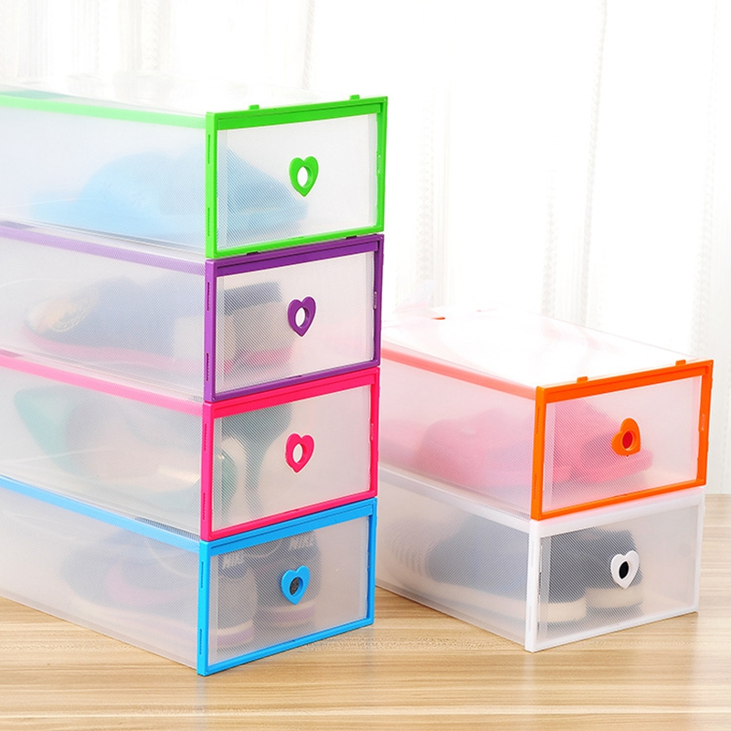Shoes Chest Of Drawers Stackable Drawer Shoe Storage Box Plastic Transparent Thick Heart-shaped Shoes Organizer Dustproof chest of drawers