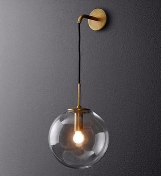 modern led glass ball wall light industrial living room restaurant bar bedroom lamp