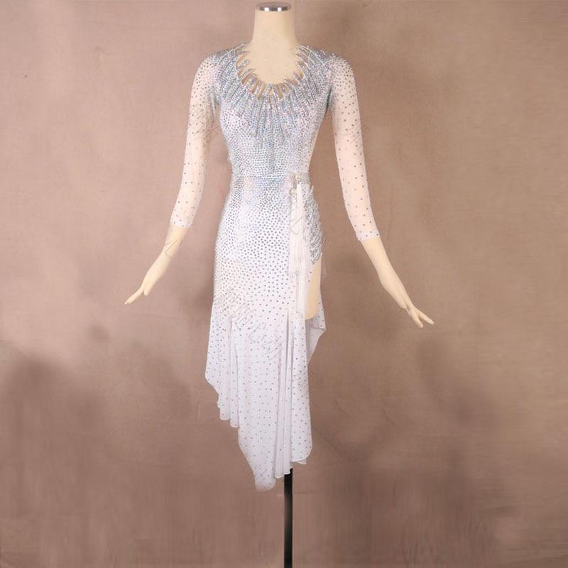 Robe de danse latine blanche robe de salsa latine femmes danse porter robe de compétition latine costumes de danse samba robe à franges latine tango